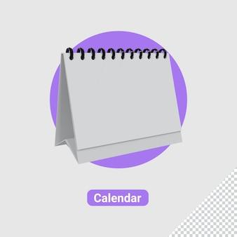 Renderização 3d do ícone do calendário