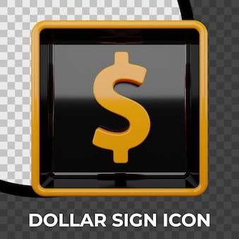 Renderização 3d do ícone do cifrão