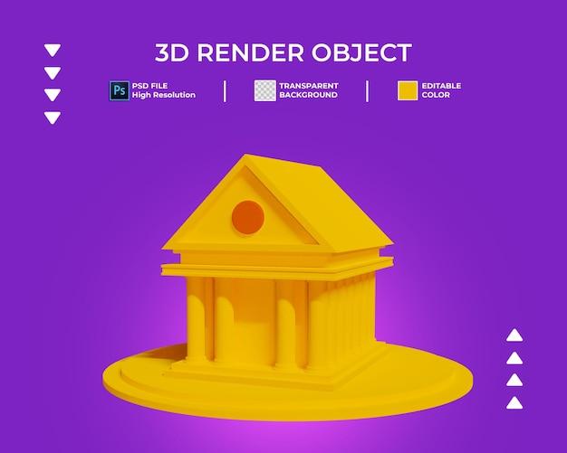 Renderização 3d do ícone do edifício isolado