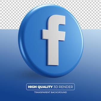 Renderização 3d do ícone do facebook isolada