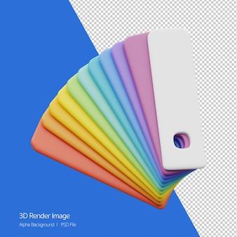 Renderização 3d do ícone do gráfico de cores isolado no branco.