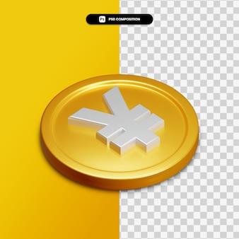 Renderização 3d do ícone do iene no círculo dourado isolado