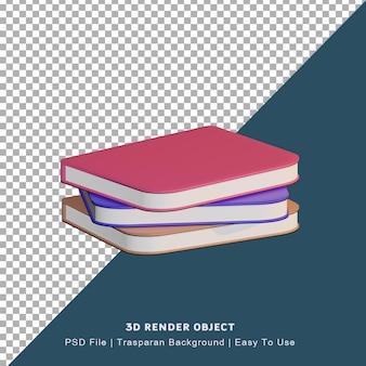 Renderização 3d do ícone do livro com três cores diferentes
