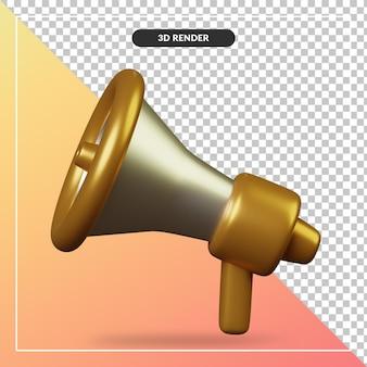 Renderização 3d do ícone do megafone dourado isolado Psd Premium