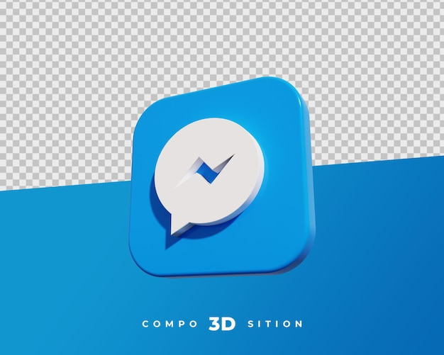 Renderização 3d do ícone do messenger