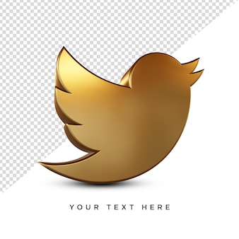 Renderização 3d do ícone dourado do twitter