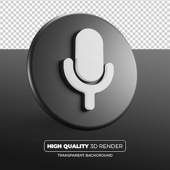 Renderização 3d do ícone preto do microfone isolada