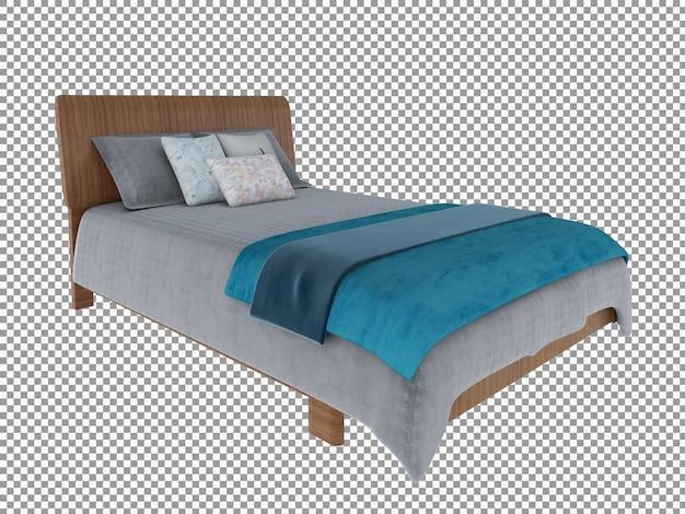 Renderização 3d do interior da cama de madeira minimalista isolado