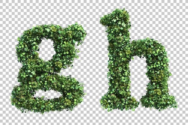 Renderização 3d do jardim vertical em minúsculas alfabeto ge alfabeto h