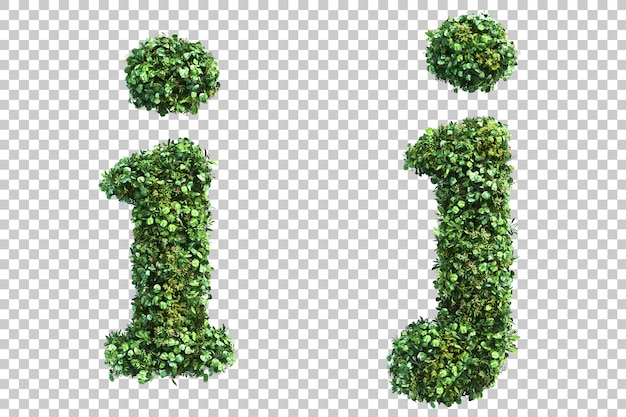 Renderização 3d do jardim vertical em minúsculas alfabeto iej alfabeto j