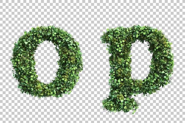 Renderização 3d do jardim vertical em minúsculas alfabeto oe alfabeto p