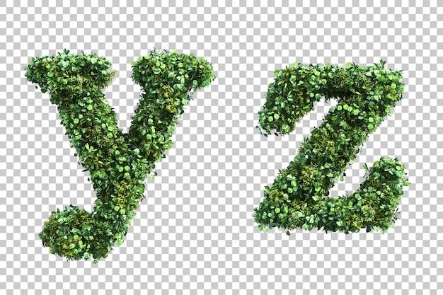 Renderização 3d do jardim vertical em minúsculas alfabeto ye alfabeto z