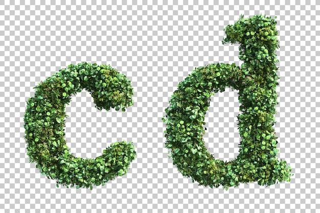 Renderização 3d do jardim vertical letras minúsculas ae alfabeto b