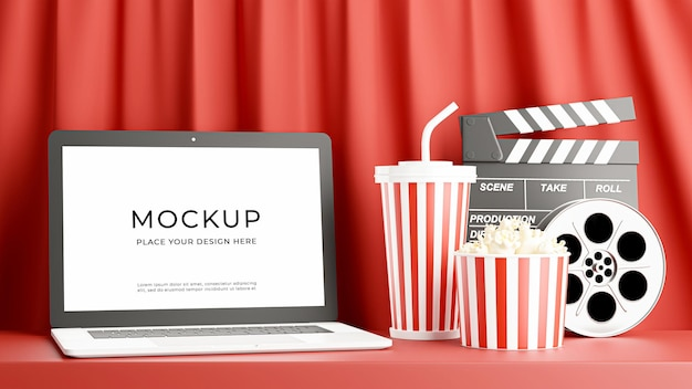 Renderização 3d do laptop com tempo de cinema para o design da maquete
