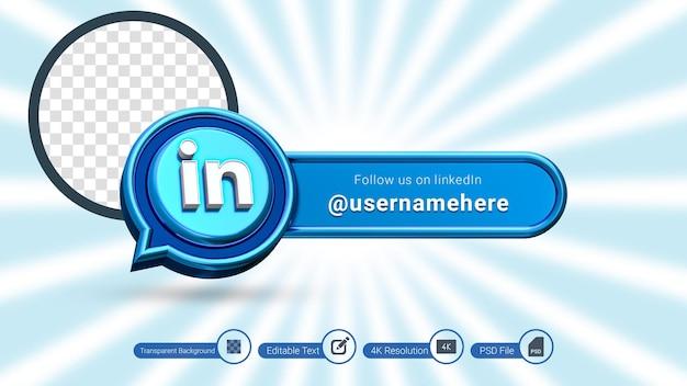 Renderização 3d do linkedin siga-nos rótulo isolado ícone de banner de mídia social premium psd