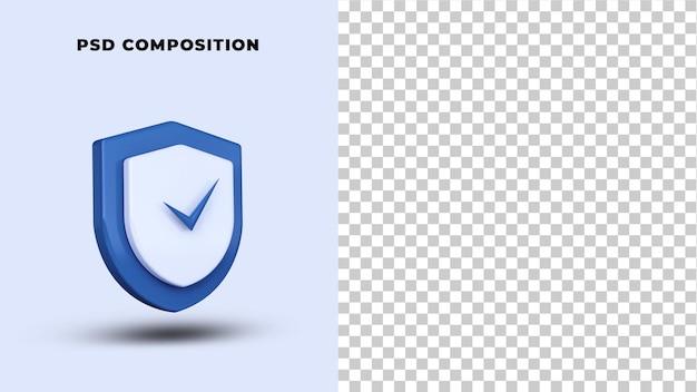 Renderização 3d do logotipo de segurança de segurança isolada