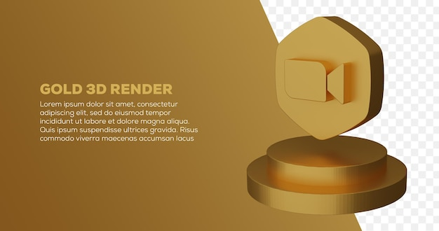 Renderização 3d do logotipo de zoom dourado e pódio em dourado