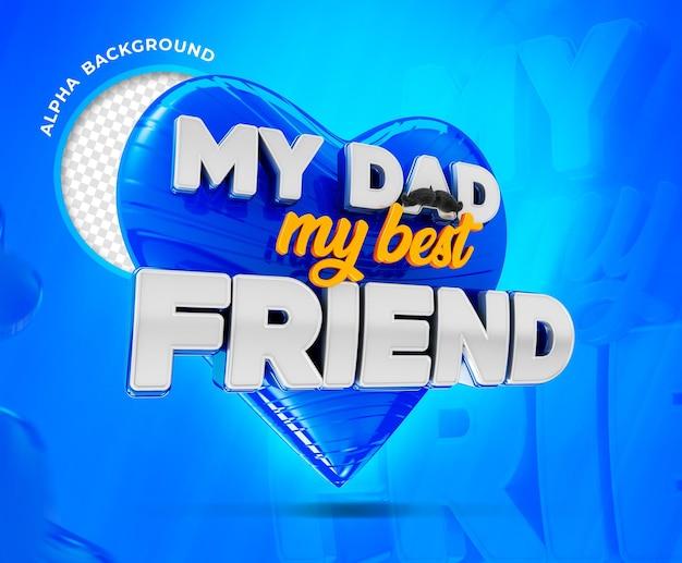 Renderização 3d do logotipo do dia dos pais feliz