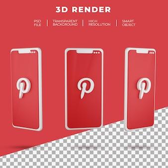Renderização 3d do logotipo do pinterest do smartphone isolado