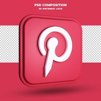 Renderização 3d do logotipo do pinterest isolada