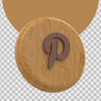Renderização 3d do logotipo do pinterest