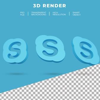 Renderização 3d do logotipo do skype isolado