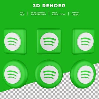 Renderização 3d do logotipo do spotify isolado