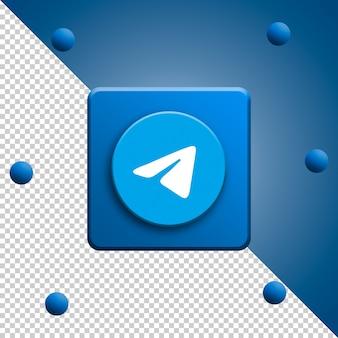 Renderização 3d do logotipo do telegram isolada