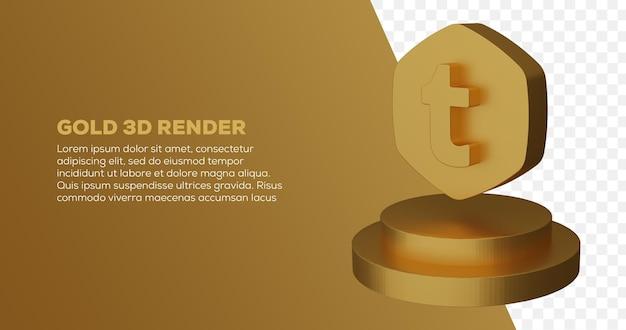 Renderização 3d do logotipo do tumblr dourado e pódio em dourado