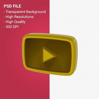 Renderização 3d do logotipo do youtube isolada