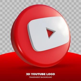 Renderização 3d do logotipo do youtube Psd Premium