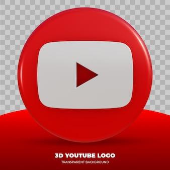 Renderização 3d do logotipo do youtube