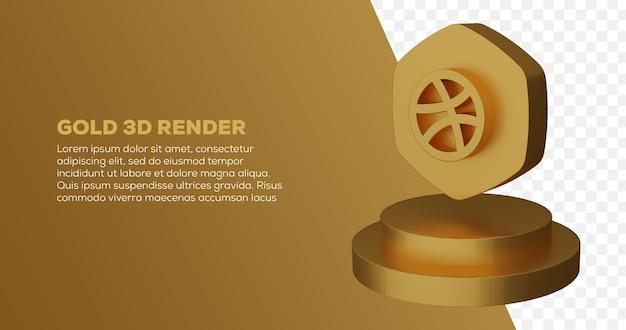 Renderização 3d do logotipo dourado do dribbble e do pódio