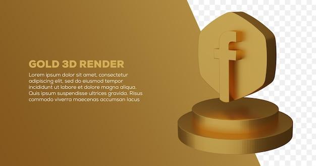 Renderização 3d do logotipo dourado do facebook e pódio
