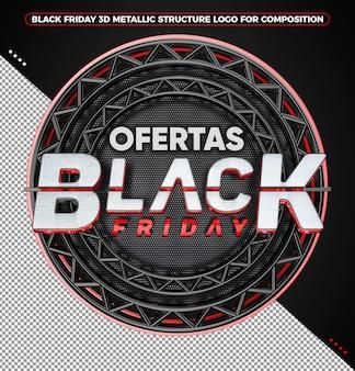 Renderização 3d do logotipo oferece preto sexta-feira vermelha