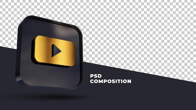 Renderização 3d do logotipo ouro do youtube isolada