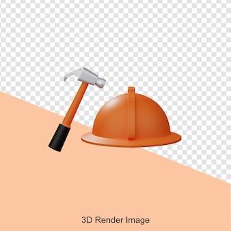 Renderização 3d do martelo de construção