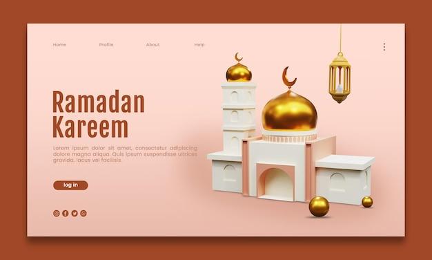 Renderização 3d do modelo da web da página de destino ramadan kareem