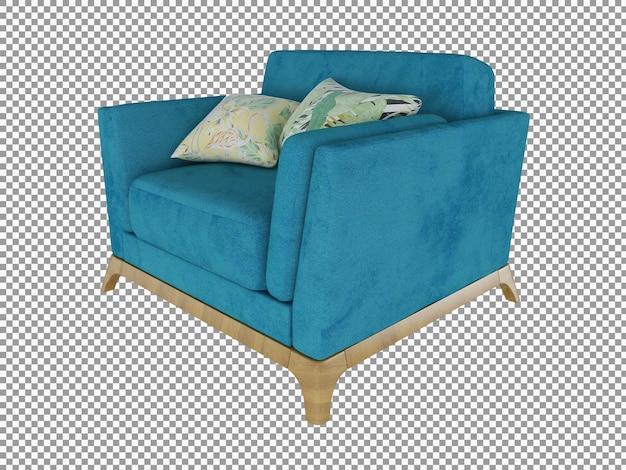 Renderização 3d do moderno mini sofá de tecido com interior de madeira isolado