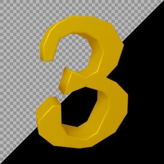 Renderização 3d do número 3