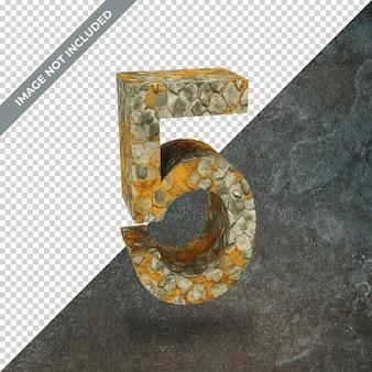 Renderização 3d do número 5 com fundo isolado