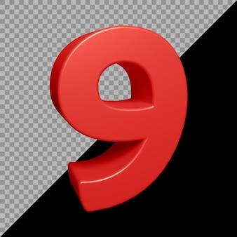 Renderização 3d do número 9