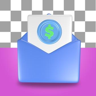 Renderização 3d do objeto de ícone de carta de envelope de correio azul com uma folha de papel de contabilidade financeira