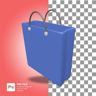 Renderização 3d do objeto de uma bolsa de supermercado azul fofa