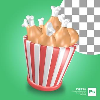 Renderização 3d do objeto ícone do balde de frango frito com linhas vermelhas e brancas