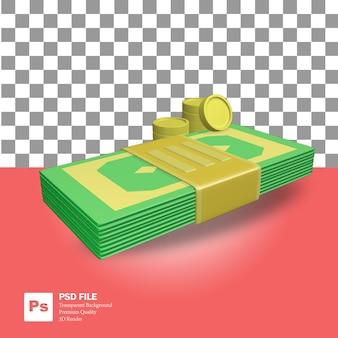 Renderização 3d do objeto nota de um dólar com várias moedas