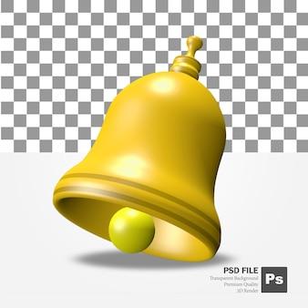 Renderização 3d do objeto sino de notificação amarelo dourado