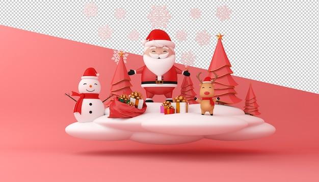 Renderização 3d do papai noel, caixa de presente e árvore de natal