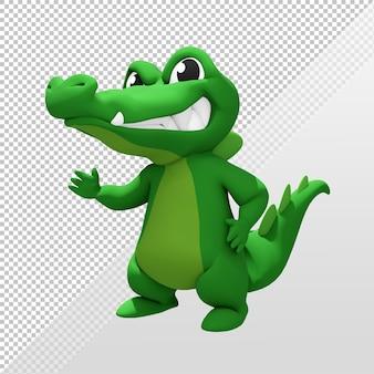 Renderização 3d do personagem mascote cutecrocodile cumprimentando e olhando para o espectador