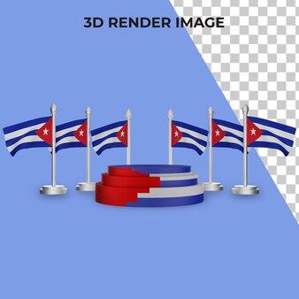Renderização 3d do pódio com conceito premium do dia nacional de cuba psd